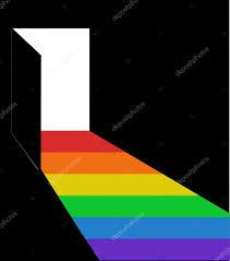 Open door light rainbow coming out day dark room Stock Vector