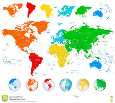 Detailed Vector World Map With Colorful Continents Stock