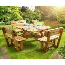 anchor fast 8 seater pine wood picnic bench