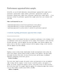 appraisal letter performance appraisal letter sample
