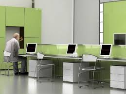 alluring interior awesome white and pale green modern interior design for office with long desk incredible alluring cool office interior designs awesome
