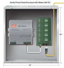 somfy wire rts tilt motor for 2 blinds 1000678 best price somfy power panel enclosure kit 5 motor 24v dc this power panel is used to