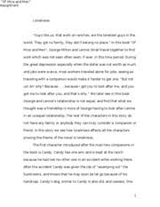 essay of mice and men in john steinbeck s of mice and men 4 pages loneliness and despair