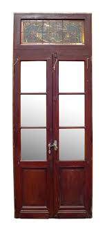 double doors with stained glass transom entry doors
