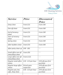 Domestic Cleaning Price List Our Price List With Dicounts Domesticcleaning