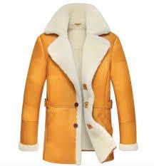 celeblazer leather shearling fur sheep skin leather jacket coat wool fur boa jkt brown tea yellow m 4xl