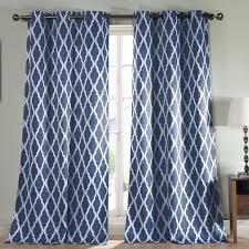 navy white curtains light blocking blackout panel blue for