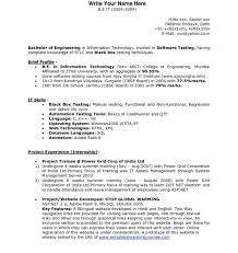 Sample Resume For Software Tester Fresher Software Testing Resume Format For Freshers Marvelous Sample Resume 12