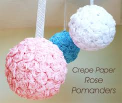 Diy Crepe Paper Flower Balls Do It Yourself Wedding Project Crepe Paper Rose Pomanders
