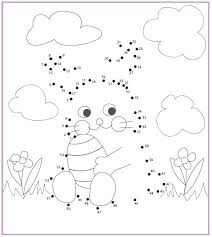 Coloring Activity Pages Easter Bunny Dot To Dot With Spring