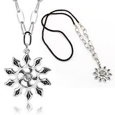 details about men stainless steel fashion silver tone chain crystal flower pendant necklace
