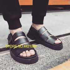 black mens leather straps cutout sandals shoes beach casual fashion gladiator sandals 2018 summer male cool mujers men s sandals men s sandals black