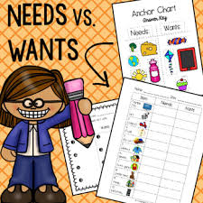 Needs And Wants Chart Needs Vs Wants Color In Worksheet And Anchor Chart Template
