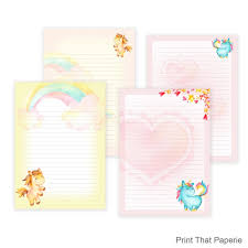 Note Paper Template Magnificent Unicorn Printable Writing Paper Stationary Paper Letter Etsy
