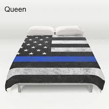 Thin Blue Line forter or Duvet Cover Set American Flag