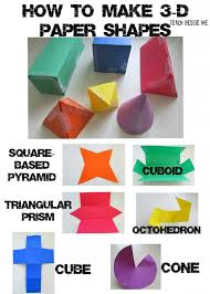 3 d paper shapes from teach beside me