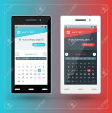 modern smartphone with calendar app on the screen flat design template for mobile apps Stock Vector