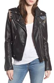 women s blanknyc embroidered faux leather moto jacket