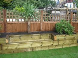 Garden Design Ideas With Railway Sleepers I Like The Decorative Lattice Top To This Fence Sleepers
