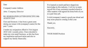 Resignation Letter Correct Sample For Resignation Letter One