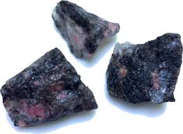 rhodonite named after the greek word meaning rose this stone has a characteristic pink color mingled with black or grey veins of manganese it is often