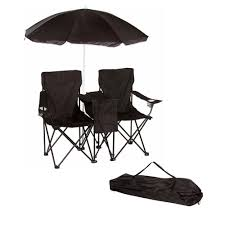 trademark innovations black double folding camp and beach chair with removable umbrella and cooler