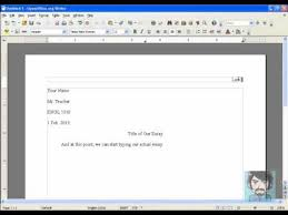 How To Set Up Your Paper In Mla Format Using Open Office Youtube