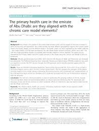 Pdf The Primary Health Care In The Emirate Of Abu Dhabi