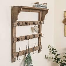 farmhouse wooden wall shelf with hooks