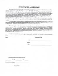 Lien Release Form Interesting Contractor S Final Release And Waiver Of Lien Form Erkal