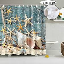 seashell shower curtain decoration for bathroom 3d nature print pictures yiweisi fabric rustic shower