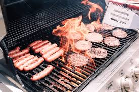 Image result for grill with hotdogs and hamburgers
