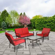 Hd Designs Outdoors Orchards Retro Bistro Set 3 Piece 4 Piece Patio Furniture Set Table Chairs Sofa Seating Conversation Outdoor Red