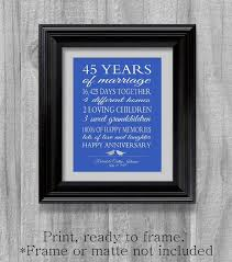 45th wedding anniversary gift pas sapphire blue personalized love story stats important events marriage art print unique custom sbooking 45th