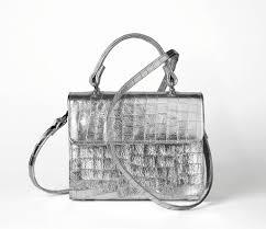 silver metallic faux croc leather handbag