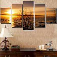 Paintings For Living Room Wall Print Art Canvas Painting Unframed 5 Piece Large Hd Sunset For