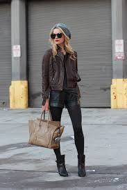 women s dark brown leather jacket charcoal crew neck t shirt black leather shorts black leather ankle boots women s fashion