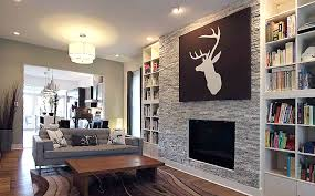 accent wall designs living room. open living room decoration with granite wall accent and deer head painting ideas design designs