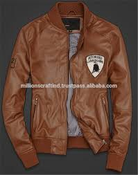 2016 custom design stan leather jacket in men leather jacket high qualited and nice color leather jacket in stan sialkot brown