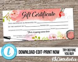 Custom Gift Certificate Templates Free Editable Custom Makeup Gift Certificate Printable Template