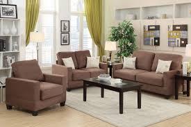 Rebel Brown Wood Sofa Loveseat and Chair Set