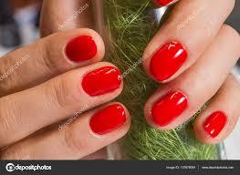 Detailním Manikúra červené Nehty Stock Fotografie Aallm 137678094