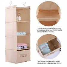 senarai hanging closet organizer clothes clothing storage holder 4 shelves with drawer beige terkini di malaysia
