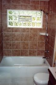 glass block windows vents shower with glass block window tub and tiled walls a personal used