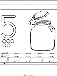 Small Picture Number 5 five tracing and coloring worksheets Crafts and