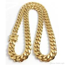 2018 snless steel jewelry 18k gold plated high polished miami cuban link necklace men punk 14mm curb chain dragon beard clasp 24 26 28 30 from