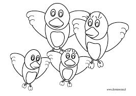 Disegno Semplice Di Una Famiglia Di Uccellini Con Uccellini Da