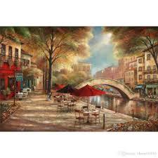 hand painted oil painting garden art riverwalk jpg