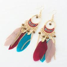 Buy A Dream Catcher P100 Dreamcatcher Oval Dangling Feather Hook Earrings [H100 98