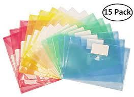 15 Pack Poly Envelope File Folder Wellerly Plastic Document File Folder Envelopes With Label Pocket Snap Button Closure Us Letter A4 Size For